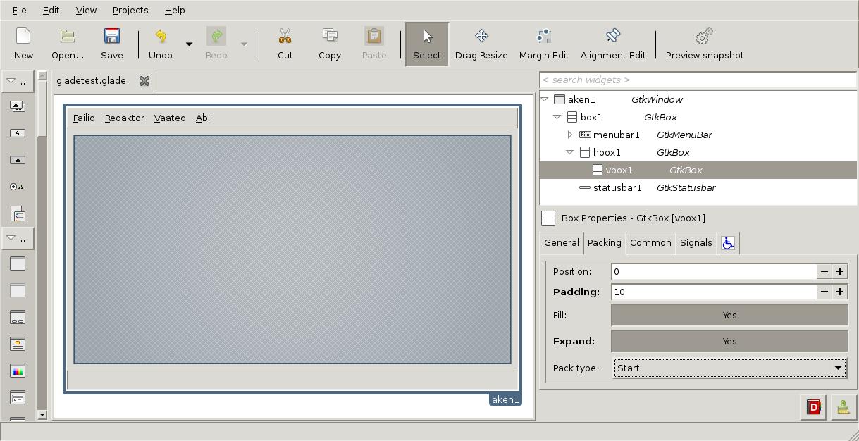Töö programmiga GALDE User Interface Designer: akna loomine