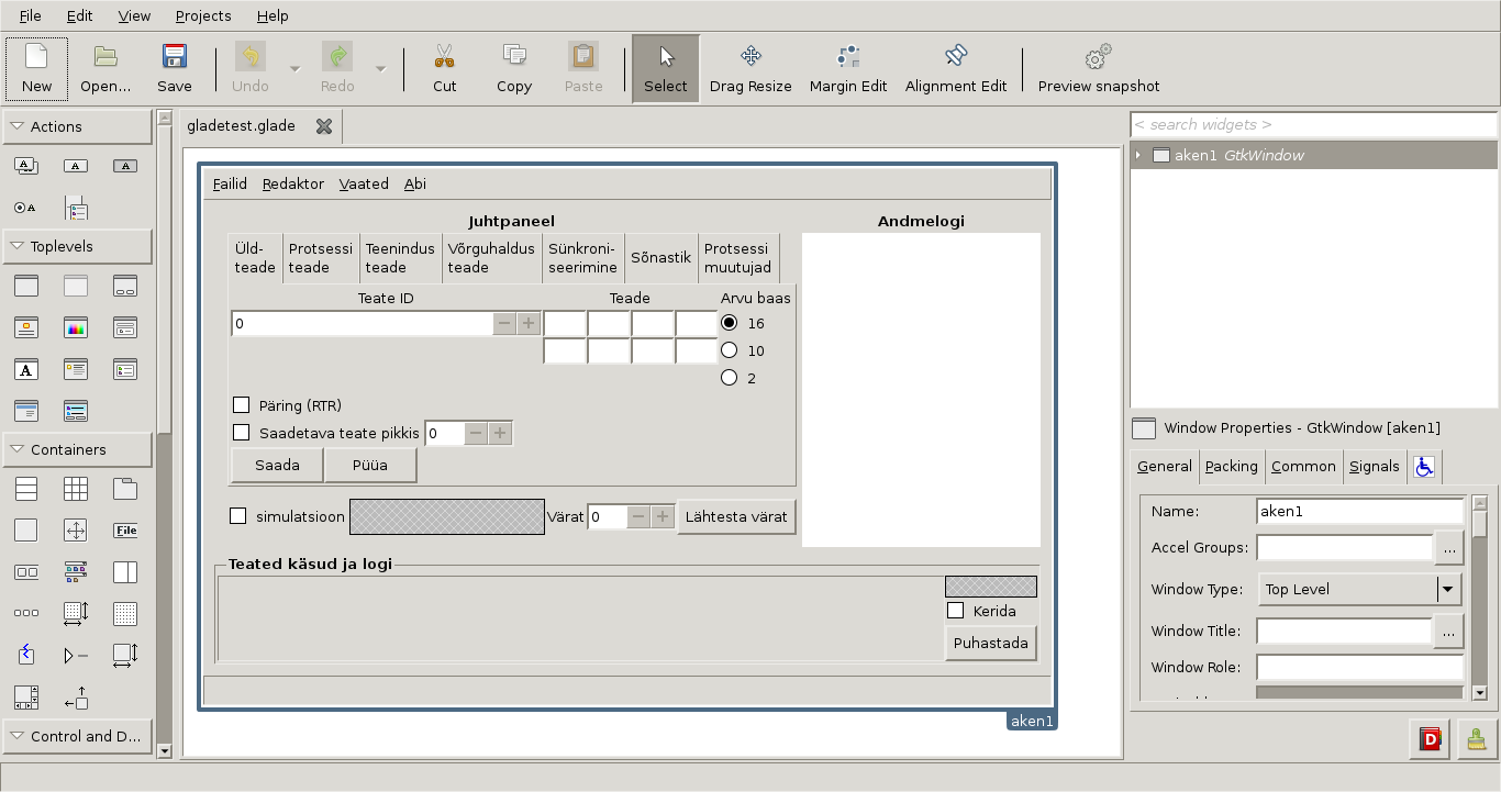 Töö programmiga GLADE User Interface Designer: aknaruutude loomine